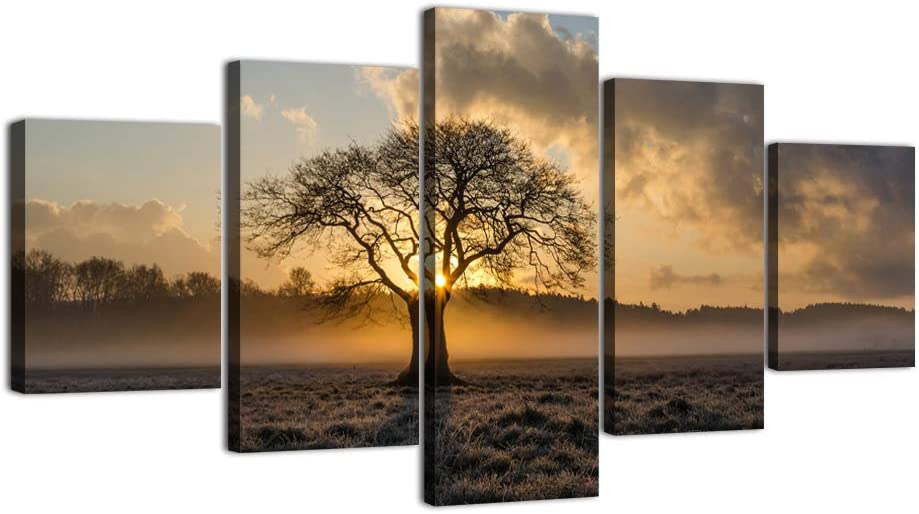 Yatsen Bridge 5 Panels Poster Sunrise Tree Landscape Photo Canvas Painting Nature Picture Wall Art Frame Printed Pictures for Living Room Décor Bedroom Decor Framed Ready to Hang(60''W x 32''H)