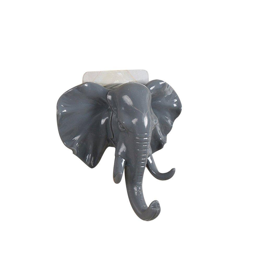 Binmer Clearance Elephant Head Self Adhesive Wall Door Hook Hanger Bag Keys Sticky Holder (Gray)