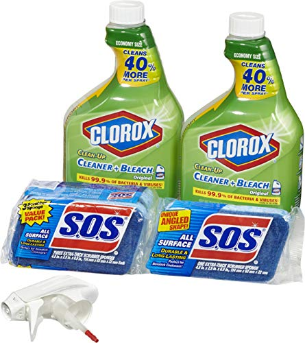 Clorox Clean-Up Bleach Cleaner Spray and S.O.S All Surface Scrubber Sponge Value Pack - Two 32 Ounce Bottles and 4 Sponges