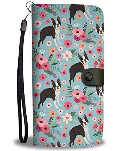 boston terrier flower wallet phone