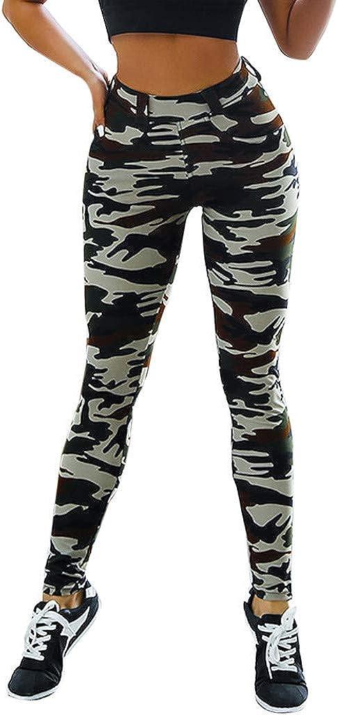VPASS Mujer Pantalones,Mallas Mujer Fitness Elásticos Impresión Pantalones de Yoga de Camuflaje Gym Slim Fit Pantalones Largos Pantalones Leggings Cintura Alta Deportivos Running Fitness Pantalon