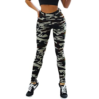 52ba873ee0 PlayMate Leggings Women's Exercise Fitness Gym Workout Running Yoga Shorts  Camouflage High Waist Stretch Shapewear at Amazon Women's Clothing store: