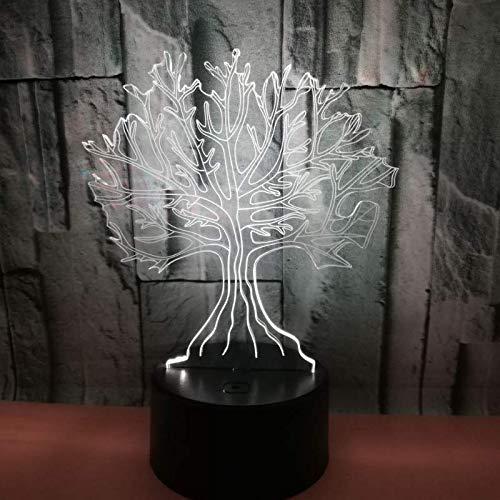 3D Ilusión óptica Lámpara LED Luz Árbol grande de noche Deco ...