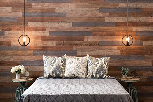 Nance Industries 16632 E-Z Peel and Press Wall Planks 4''X36'' Assorted Wood Colors 20 by Nance Industries (Image #1)