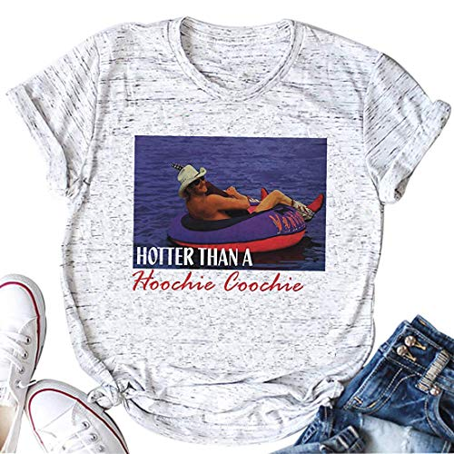 Enmeng Hotter Than a Hoochie Coochie Shirt Country Music Summer Graphic Tees Tops (M, White)