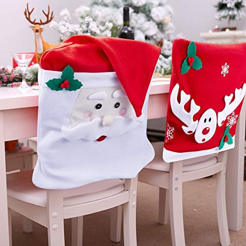 iYoYo [ 2 Pack, Mr Santa Claus and Reindeer Christmas Chair Covers Decorations for Dining Room Kitchen Chair Back Slip Covers Set for Table, Seat, Party, Holiday, Party, Festival