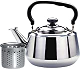 Home N Kitchenware Collection 3-Liter Tea Kettle with Strainer, Stainless Steel