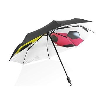 Paraguas Balón de fútbol Fútbol 3 pliegues Ligero Anti-UV: Amazon ...