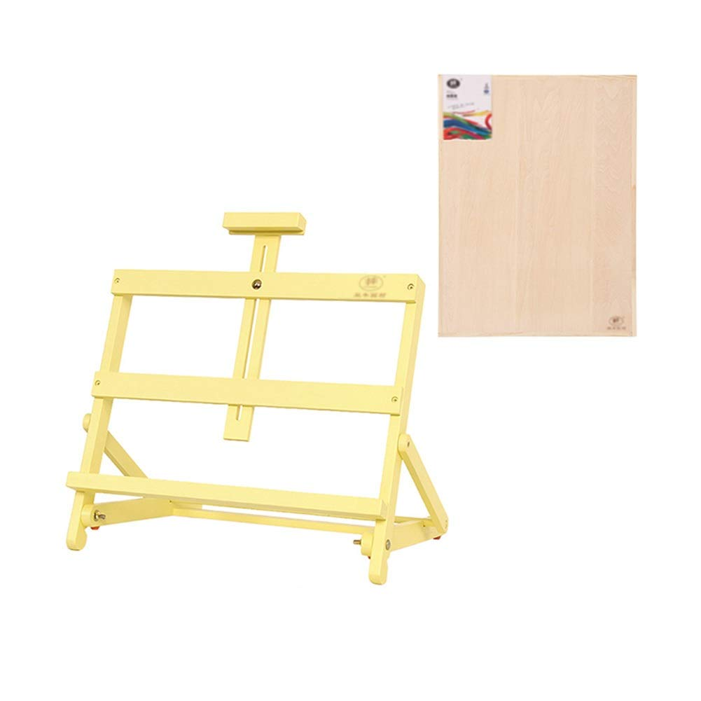 YY 4Kスケッチパッド、ポータブルアーティストの絵画やデッサンスケッチブックスタンドラック - 黄色の木製デスクトップイーゼル   B07RBQY579