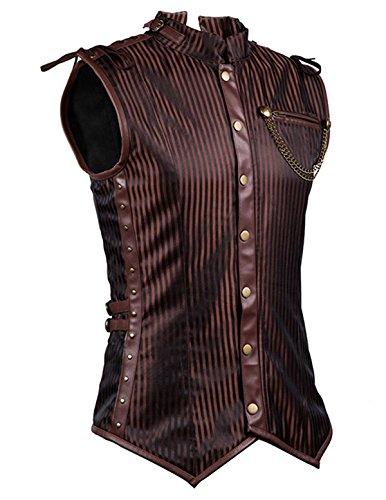 SCARLET DARKNESS Mens Gothic Vest Waistcoat Steampunk Victorian Tailcoat SLAF0013-1 4XL (1 Waistcoat)