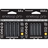 Panasonic Eneloop Pro AA and AAA High Capacity Ni-MH Pre-Charged Rechargeable Batteries Bundle (8 Pack of Each)