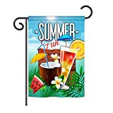 Ornament Collection G192070 Cool Summer Drinks Happy Hour Beverages Decorative Vertical Garden Flag, 13'' x 18.5'', Multicolor