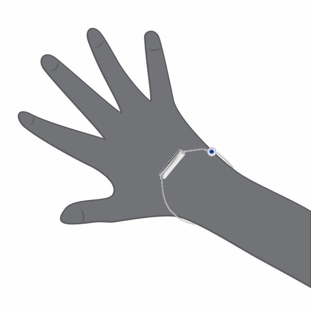 925 Sterling Silver ID Bracelet Nazar Evil Eye Protection for Children 6