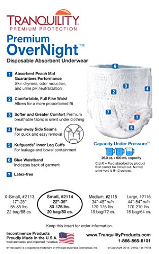 Tranquility Premium Overnight Disposable Absorbent Underwear (DAU) - Small- 2 Pack Sample by TRANQUILITY (Image #2)