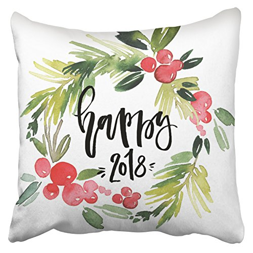 Happy Holly Wreath (Emvency Decorative Throw Pillow Covers Watercolor Holly Wreath Happy New Year 2018 Christmas New Year 18x18 Inches(45x45cm) One Side Square Pillowcases Cases Decor Couch Sofa)