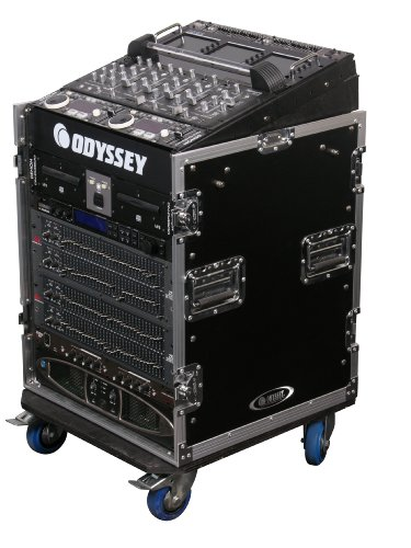 Odyssey FZ1112W Flight Zone Ata Combo Rack With Wheels: 11u Top Slant, 12u Vertical