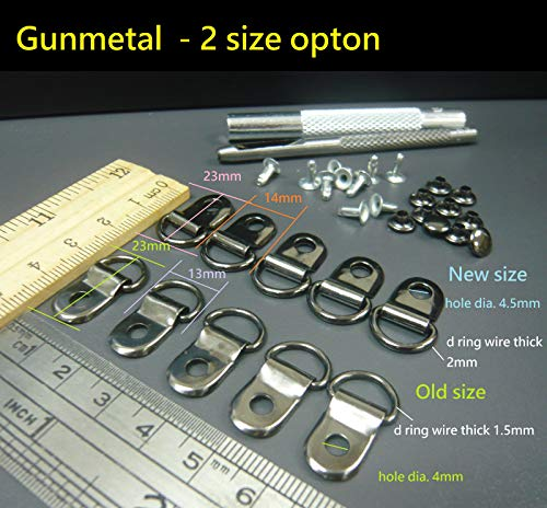 FidgetFidget Metal Rivet D Ring Lace Eye Boot Repair Kit 2 Size Option + 1set Hand held Tool Old Size Gunmetal Nearly Black