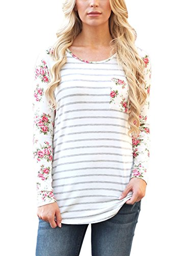 JomeDesign Womens Casual Floral Print Long Sleeve Striped Shirt Blouse Tops (S-XXL)