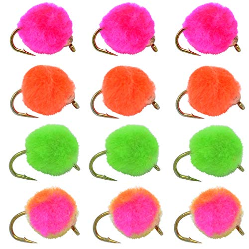 Fly Fishing Hook Sizes - The Fly Fishing Place Tungsten Bead Head Glo Bug Egg Fly Assortment - Collection of 12 Wet Nymph Fly Fishing Flies - Hook Size 10