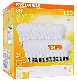 Sylvania 60W Equivalent, LED Light Bulb, A19 Lamp, Efficient 8.5W, Soft White 2700K, 24 Pack (B0758GXHQK)   Amazon price tracker / tracking, Amazon price history charts, Amazon price watches, Amazon price drop alerts
