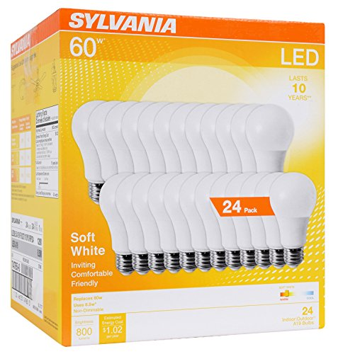 - SYLVANIA 60W Equivalent, LED Light Bulb, A19 Lamp, Efficient 8.5W, Soft White 2700K, 24 Pack