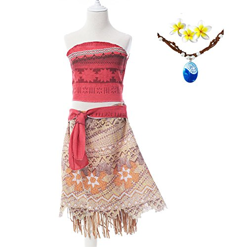 Moana Girls Adventure Outfit Cosplay Costume Skirt Set with Necklace&flower (3.94FT)