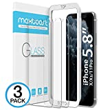 Electronics : Maxboost Screen Protector for Apple iPhone Xs & iPhone X & iPhone 11 Pro (3 Packs, Clear) 0.25mm Tempered Glass Screen Protector with Advanced Clarity [3D Touch] Work w/Most Case 99% Touch Accurate