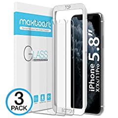 Your iPhone X 2017 & iPhone XS 2018 Frontline Protection - Maxboost Tempered Glass Screen Protector  THIN IS IN World's thinnest (0.25mm) tempered glass screen protector for iPhone X & iPhone XS is 100% touch accurate and compatible w...