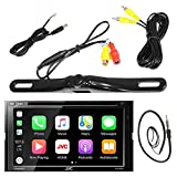 JVC KW-V420BT 7' Double DIN Car CD DVD USB Bluetooth Stereo Receiver Bundle Combo With License Plate Mount Rear View Colored Backup Parking Camera, Enrock 22' AM/FM Radio Antenna