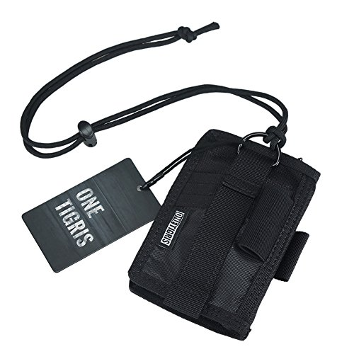 OneTigris ID Card Holder, Credit Card Organizer Neck Lanyard Key Ring Wallet Tactical Badge Holder (Black)