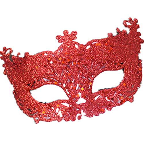 - Easter Exquisite High-end Sequin Carnival Mask Venetian Masquerade Mardi Gras Party Festival Easter Mask (Assorted Colors) (Red)