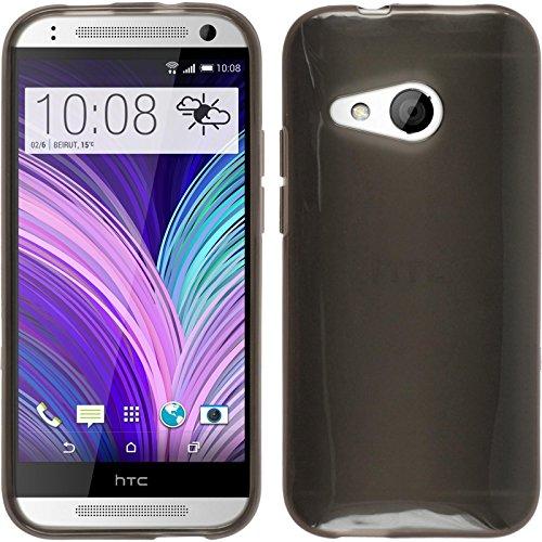 PhoneNatic Silicone Case Compatible with HTC One Mini 2 - Transparent Black Cover + Protective foils