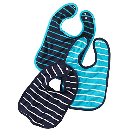 Baby-Lätzchen mit Druckknopf | größenverstellbarer und strapazierfähiger Klecker-Schutz | im 3er Set | aus 100% Baumwolle | klassisch gestreift in marine-blau, türkis und weiß
