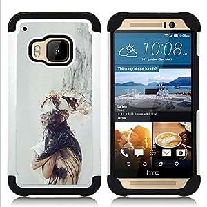 """HTC One M9 /M9s / One Hima - 3 en 1 impreso colorido de Altas Prestaciones PC Funda chaqueta Negro cubierta gel silicona suave (Mente Pensamiento Profundo triste gris"""")"""