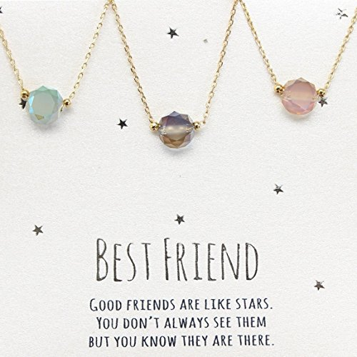 Best friends necklace for 3, BFF Necklace, friendship necklace for 3, Gold dainty necklace, simulated gemstone necklace, gray necklace, tiny gemstone, dot - Necklaces Friend Set Of Best 3