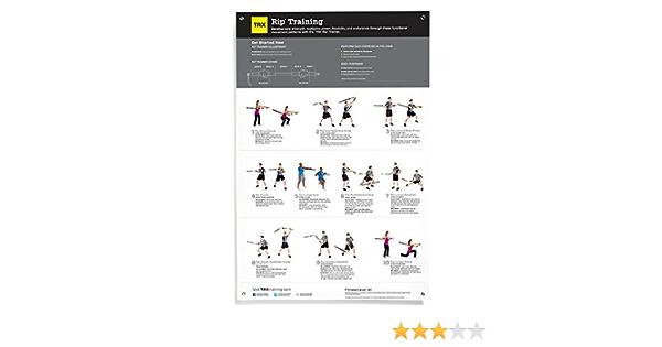 TRX Entrenamiento Póster de Entrenamiento Rip, la guía de Ejercicios Ideal para el Sistema de Entrenamiento Rip