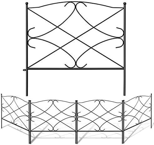 Barrier Gate Outdoor Black 24 x 24 Finderomend 10 Pack Garden Fence Rustproof Metal Wire Fencing Decorative Garden Fence Border for Landscape Patio Flower Bed Pets