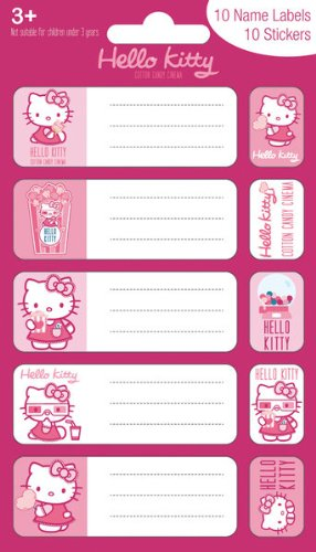 hello kitty cotton candy cinema name labels 10 name label
