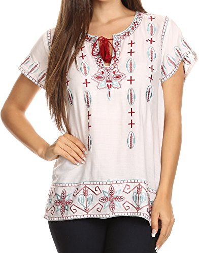 Wide Boxy Embroidered Short Sleeve Tassel Tie Top Shirt Tunic Blouse - White - M/L ()