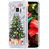 Flocute Galaxy S9 Case, Galaxy S9 Glitter Chrismas Case Bling Sparkle Floating Liquid Soft TPU Cushion Luxury Fashion Girly Women Cute Case for Samsung Galaxy S9 (Christmas Tree)