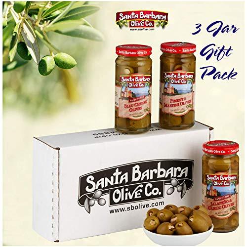 Santa Barbara Olive Co | Premium Individually Hand Stuffed | VARIETY PACK COMBO | 3 Pack (5 oz jars) (Jalapeno & Garlic, Martini Pimento and Bleu Cheese)