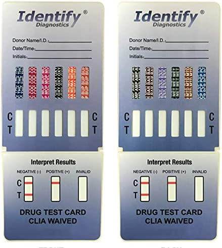 5 Pack Identify Diagnostics 12 Panel Drug Test Dip – Testing Instantly for 12 Different Drugs THC, COC, MOP, OXY, MDMA, BUP, AMP, BAR, BZO, MET, MTD, PCP ID-CP12-DIP (5)