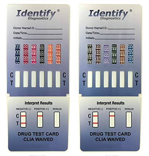 15 Pack Identify Diagnostics 12 Panel Drug Test Dip with Low Opiates Cutoff - Testing Instantly for 12 Drugs: THC, COC, MOP, OXY, MDMA, BUP, AMP, BAR, BZO, MET, MTD, PCP #ID-CP12-DIP by Identify Diagnostics