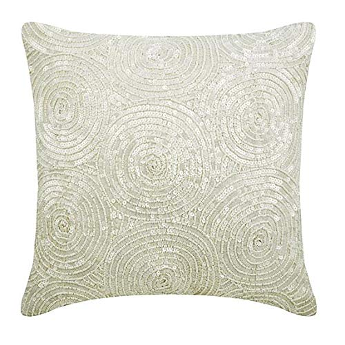 Contemporary Cushion Cover - The HomeCentric Designer Ivory Pillow Covers, Spiral Sequins Antique Pillows Cover, 18
