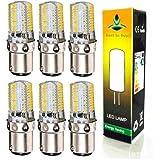 Best to Buy® 6-pack Ba15d 4W Dimmable 80-LED White Light Bulbs, 6000K, 300-320LM, 110V-130V AC
