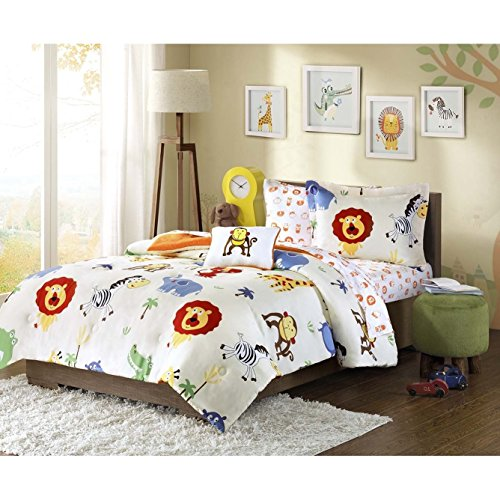 Jungle Themed Bedding - 6 Piece Kids Zoo Twin Comforter Set, Jungle Themed Bedding for Children, Monkeys Lions Zebras Crocodile Elephant African Wild Cute Safari Animals