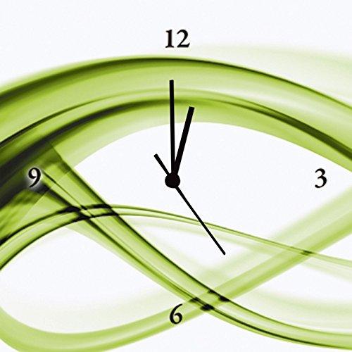 Artland Wand-Funk-Analog-Uhr Digital-Druck Leinwand auf Holz-Rahmen gespannt mit Motiv Benedict Bocos Abstrakte Komposition (grün) Abstrakte Motive Gegenstandslos Digitale Kunst Grün A6GE