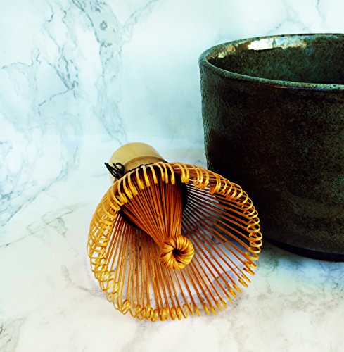 HARU MATCHA - MADE IN JAPAN - Traditional Handcarved Golden Bamboo Matcha Whisk (100 Prongs) by Haru Matcha (Image #4)