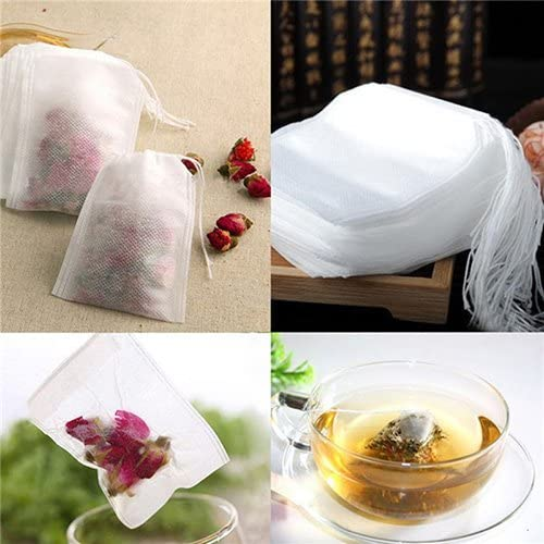 Loose Tea 100pcs Brussels08 100pcs Non-Woven Empty Teabags Tea Filter Bags Disposable Tea Bag with Drawstring Safe Strong Tea Infuser Bag for Coffee Herb