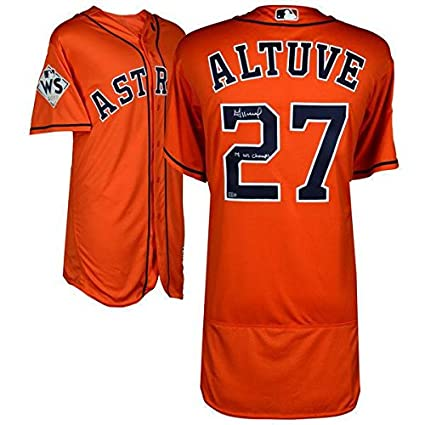 best website 38cf8 3d96f Jose Altuve Autographed Jersey - Inscribed WS Champs ...